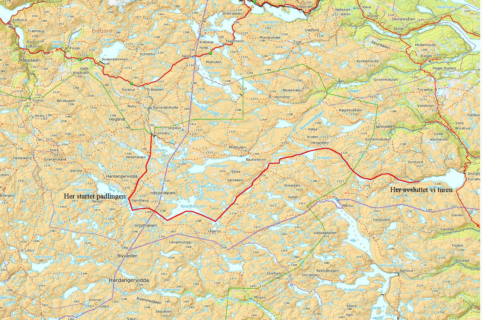 hardangervidda øst kart Kanotur på Hardangervidda – På tur med Petter hardangervidda øst kart